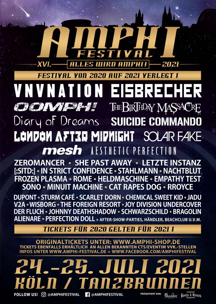 News zum Amphi Festival: ALLE BANDS AUS 2020 FÜR 2021 BESTÄTIGT! & VVK.-UPDATE!